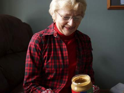 Mike Moore | The Journal Gazette Jane Lengacher of Leo-Cedarville says she's a little embarrassed by how quickly she can go through a 48-ounce jar of peanut butter.