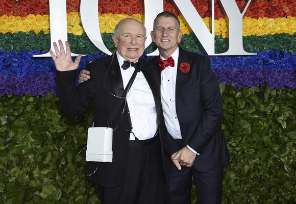 FILE - This June 9, 2019 file photo shows playwright Terrence McNally, left, and Tom Kirdahy at the 73rd annual Tony Awards in New York. McNally, one of America's great playwrights whose prolific career included winning Tony Awards for the plays