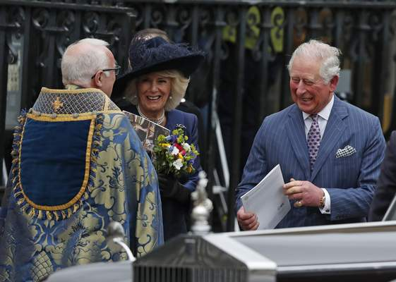 Britain's Prince Charles and Camilla, Duchess of Cornwall leave after attending the annual Commonwealth Day service at Westminster Abbey in London, Monday, March 9, 2020. (AP Photo/Frank Augstein)