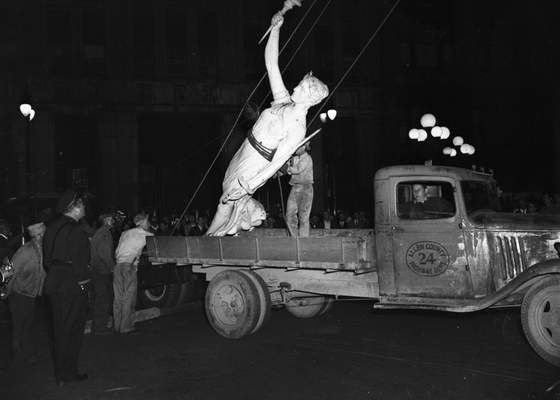 File Sept. 27, 1947: It took nearly 11 hours to remove the Liberty statue from the top of the Allen County Courthouse and lower it to a truck waiting below. She was returned to her perch in November that year.