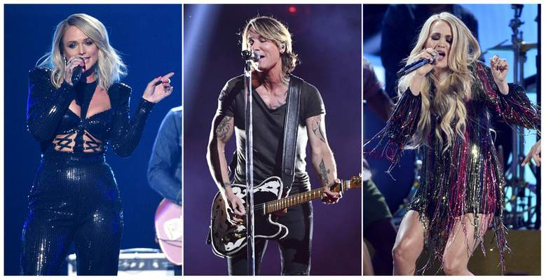 This combination photo shows country music stars, from left, Miranda Lambert, Keith Urban and Carrie Underwood, who are among 23 performers that will be featured in