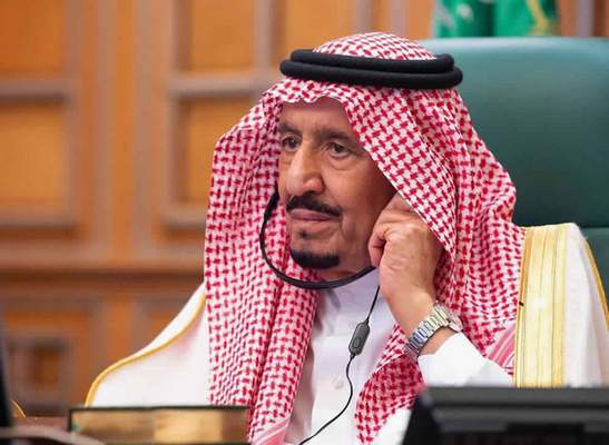 In this photo released by Saudi Press Agency, SPA, Saudi King Salman, chairs a video call of world leaders from the Group of 20 and other international bodies and organizations, from his office in Riyadh, Saudi Arabia, Thursday, March 26, 2020. (Saudi Press Agency via AP)