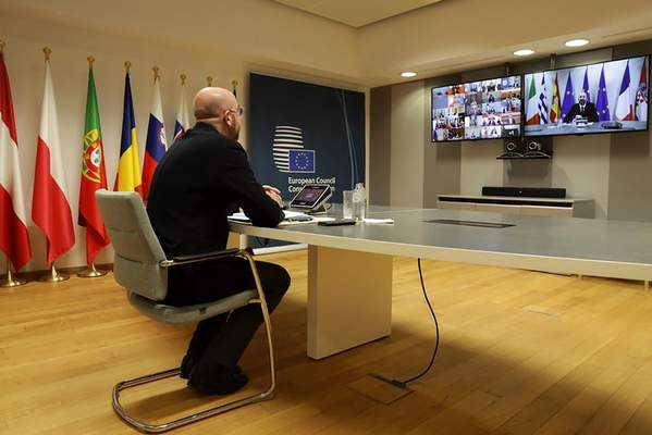 The President of the European Council Charles Michel participates in a video call of world leaders from the Group of 20 and other international bodies and organizations, Thursday, March 26, 2020. (Charles Michel European Council Twitter Page via AP)