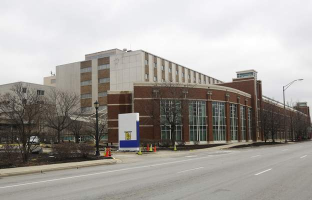 This March 23, 2020 photo shows the former MetroSouth Medical Center in Blue Island, Ill. (AP Photo/M. Spencer Green)