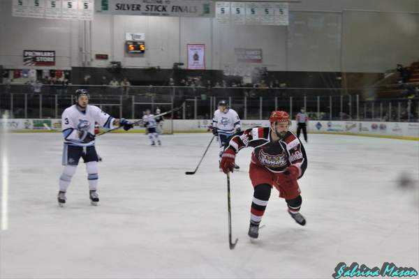 Sabrina Mason | Special to The Journal Gazette Former Indiana Tech player Alex Gregorich skates for the Port Huron Prowlers.