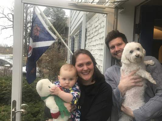 Photos by Jamie Duffy | The Journal Gazette Lenna Underwood, 10 months, holds a vintage teddy bear her mother, Meg Underwood, ownswhile her father, Scott Underwood, holds the family dog.