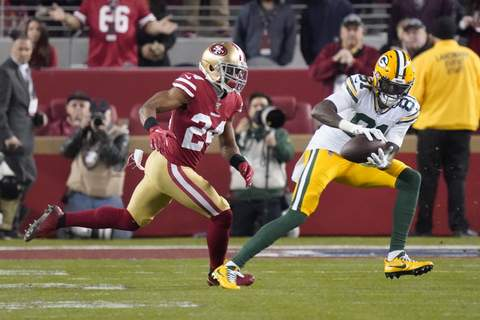 Lions Allison Football File-This Jan. 19, 2020, file photo shows Green Bay Packers wide receiver Geronimo Allison (81) catching a pass in front of San Francisco 49ers defensive back K'Waun Williams (24) during the second half of the NFL NFC Championship football game in Santa Clara, Calif. The Detroit Lions have agreed to terms with Allison. The 26-year-old Allison comes to Detroit from division rival Green Bay.(AP Photo/Tony Avelar, File) (Tony Avelar STF)