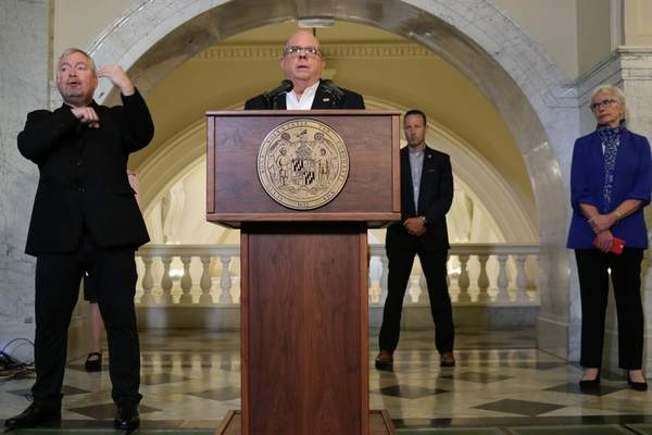 Maryland Gov. Larry Hogan talks about the state's response to the new coronavirus during a news conference on Wednesday, March 25, 2020, in Annapolis, Md. (AP Photo/Brian Witte)