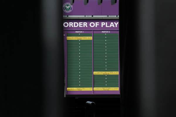 An order of play sign in the grounds of Wimbledon as it is announced that the Wimbledon tennis Championships 2020 has been cancelled due to public health concerns linked to the coronavirus, in London, Wednesday, April 1, 2020. (AP Photo/Kirsty Wigglesworth)