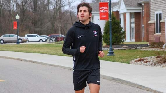 Grace athletics  Felipe Gruber, one of Grace's men's soccer players, participates in the team's run to raise funds for COVID-19 relief.