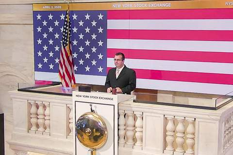 Financial Markets In this photo taken from video provided by the New York Stock Exchange, Robert Glorioso, Chief, Building Engineering Operations, rings the opening bell at the NYSE, Thursday, April 2, 2020. (New York Stock Exchange via AP) (Courtney Crow HONS)