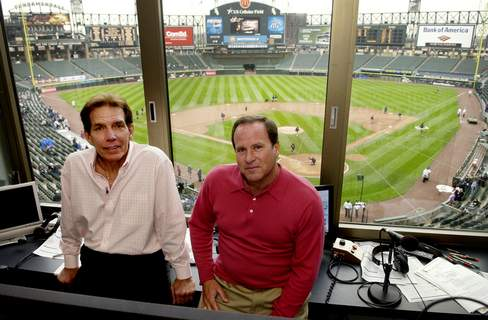 Obit Farmer Baseball In this April 28, 2008, photo, radio broadcasters Ed Farmer, left, and Steve Stone pose in the broadcasting booth before a baseball game between the Baltimore Orioles and Chicago White Sox in Chicago. Farmer, a former All-Star reliever who spent nearly three decades as a radio broadcaster for the Chicago White Sox and became an advocate for organ donation, has died. He was 70. The White Sox said Thursday, April 2, 2020, he died the previous night in Los Angeles following complications from a previous illness. (Rich Hein/Chicago Sun-Times via AP, File) (MBI)