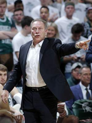 Al Goldis | Associated Press Michigan State coach Tom Izzo gives instructions against Ohio State during the first half of an NCAA college basketball game, Sunday, in East Lansing, Mich. Michigan State won 80-69.