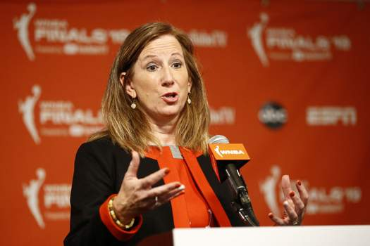 WNBA Draft Basketball Associated Press WNBA Commissioner Cathy Engelbert said in a statement Friday that the season will not start May 15 as planned.  (Patrick SemanskySTF)