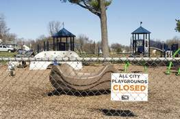 Michelle Davies | The Journal Gazette The Hamilton Park playground sits empty  Thursday during an effort to stop the spread of COVID-19.