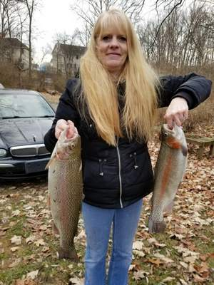 Gerri Reddin, 55, of Fort Wayne caught these rainbow trout in December in Spy Run Creek in Franke Park. One measured18½ inches and the other was about 24 inches.