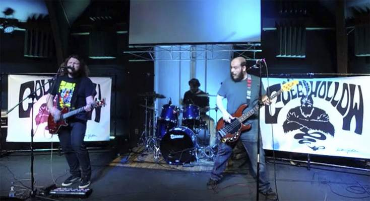Katie Fyfe | The Journal Gazette  A video capture shows the Cole Hollow Band performing via a Facebook livestream Sunday for the Fort Wayne Bar Aid effort to raise money for serversand bartenders left out of work because of the closures caused by the coronavirus pandemic.