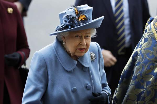 FILE - In this Monday, March 9, 2020 file photo, Britain's Queen Elizabeth II arrives to attend the annual Commonwealth Day service at Westminster Abbey in London. (AP Photo/Kirsty Wigglesworth, file)