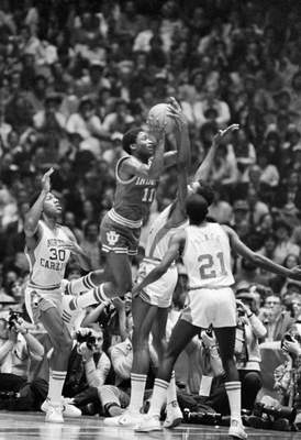 Indiana guard Isiah Thomas had 23 points in the 1981 national championship game against North Carolina at the Spectrum in Philadelphia. He earned Most Outstanding Player honors for the NCAA Tournament as the Hoosiers captured their fourth national title. (Associated Press)
