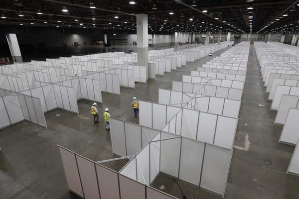 Associated Press The TCF Center in Detroit has been converted into a temporary hospitalduring the coronavirus pandemic.