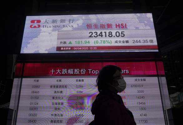 A woman wearing face mask walks past a bank electronic board showing the Hong Kong share index in Hong Kong Monday, April 6, 2020. Asian shares and U.S. futures have rebounded as investors grasped at threads of hope that the battle against the coronavirus pandemic may be making some progress in some hard-hit areas.(AP Photo/Vincent Yu)