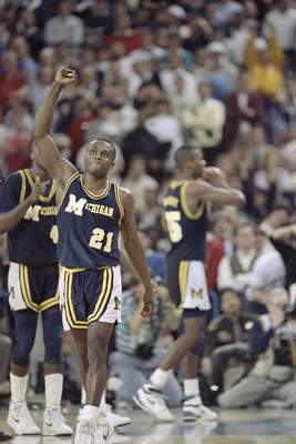 FILE - In this April 4, 1989, file photo, Michigan's Rumeal Robinson celebrates making the first of two free throws with three seconds remaining in overtime against Seton Hall in the NCAA college basketball Final Four championship game in Seattle. Michigan defeated Seton Hall 80-79 (AP Photo/File)