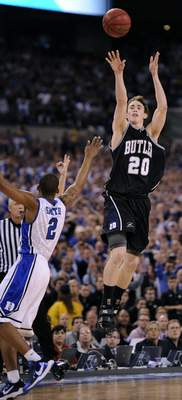 FILE - In this April 5, 2010, file photo, Butler's Gordon Hayward (20) shoots over Duke's Nolan Smith (2) during the final seconds of the men's NCAA Final Four college basketball championship game in Indianapolis. Hayward missed the shot and Duke won 61-59. (AP Photo/Mark J. Terrill, File)