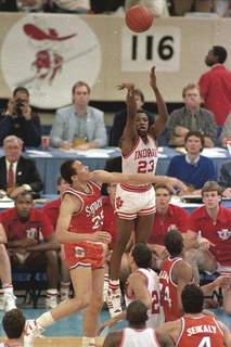 NCAA Tourney Stars Basketball Associated Press Keith Smart takes the shot that gave Indiana a 74-73 victory over Syracuse in the 1987 NCAA championship game at the Louisiana Superdome.  (BILL HABERSTF)