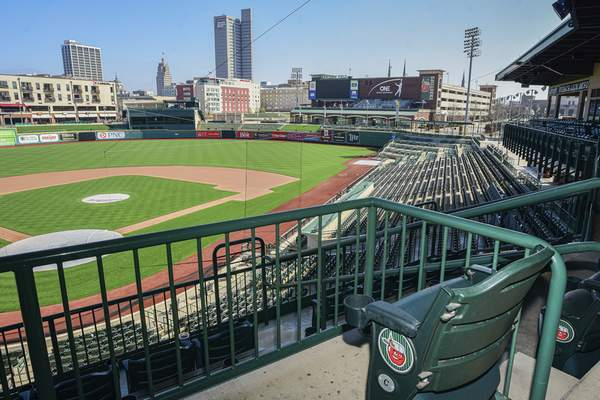 Mike Moore | The Journal Gazette Empty seats overlook the baseball diamond at Parkview Field on Wednesday. The TinCaps were supposed to open their home season tonight.