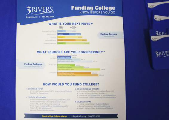 Katie Fyfe | The Journal Gazette  The 3Rivers booth has information packets on funding for college during the College Fair at Homestead High School on Monday, March 9th, 2020.