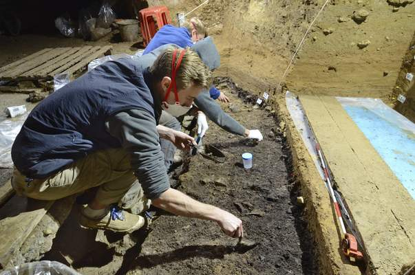 Associated Press This image provided by Tsenka Tsanova this month shows excavation work at the Bacho Kiro Cave in Bulgaria where Homo sapien bones were found that date back to as far as 46,000 years ago.
