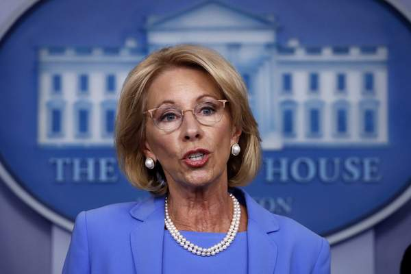 FILE - In this March 27, 2020, file photo, Education Secretary Betsy DeVos speaks about the coronavirus in the James Brady Press Briefing Room in Washington. (AP Photo/Alex Brandon, File)