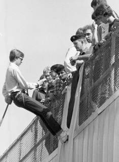 Sept. 17, 1982: Corcordia sophomore Jeff Smallwood, a member of the junior ROTC program, rappels the side of Zollner Stadium. He and his classmates were under the direction of ROTC Instructor Maj. Tibor Beirbaum. (Journal Gazette file photo)