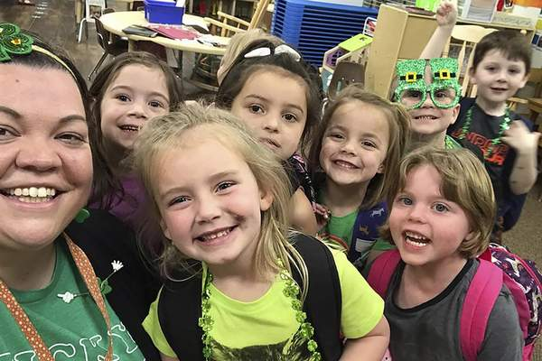 Associated Press Tabatha Rosproy, pictured with her preschool students in Winfield, Kansas, in March, has been named the 2020 National Teacher of the Year.