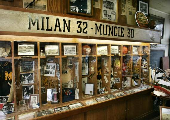 Charlie Nye/The Indianapolis Star | Associated Press  Memorabilia from the 1954 state champion Milan Indians glory days fills players'