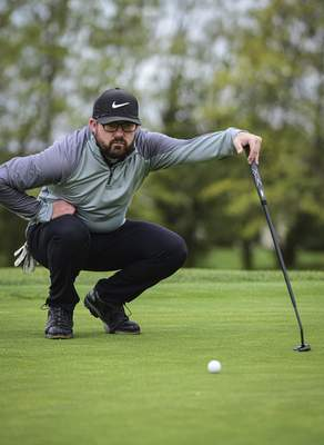 Mike Moore | The Journal Gazette Local golfer Johnny Strawser plays a round of golf at Autumn Ridge Golf Course on Auburn Rd. on Wednesday 05.20.20