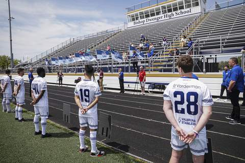 Photos by Mike Moore | The Journal Gazette Members of the Fort Wayne Football Club stand on Shields Field on Saturday during a ceremony commemorating what would have been their first game of the season if not for the coronavirus.