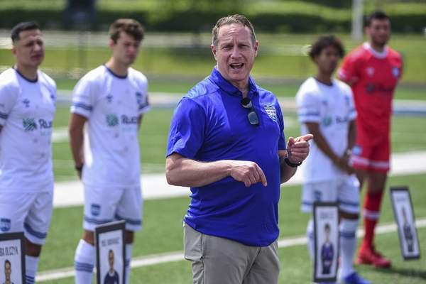 FWFC head coach Mike Avery gives remarks on Saturday during the ceremony at Shields Stadium.
