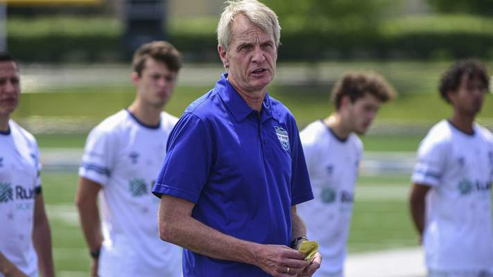 Mike Moore   The Journal Gazette President and owner of the Fort Wayne Football Club, Eric Magner gives remarks on Saturday during a ceremony recognizing their first game at Shields Stadium.