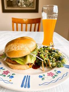 Stacy Robertson has discovered Sweet Potato Cheddar BBQ Chicken Burgers, served with a side of Healthy Summer Broccoli Salad, during the quarantine.