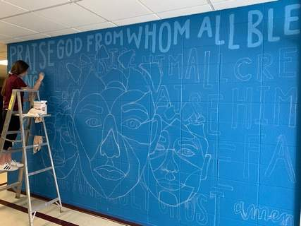 Courtesy photos Concordia senior Elle Fritcha, who along with playing basketball and tennis for the Cadets is also painting a mural on the wall outside the principal's office. Her athletic career and painting were put on pause because of  the coronavirus pandemic.