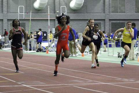 Transgender Athletes High School FILE - In this Feb. 7, 2019 file photo, Bloomfield High School transgender athlete Terry Miller, second from left, wins the final of the 55-meter dash over transgender athlete Andraya Yearwood, far left, and other runners in the Connecticut girls Class S indoor track meet at Hillhouse High School in New Haven, Conn. The U.S. Education Department's Office for Civil Rights has found a Connecticut policy that allows transgender athletes to compete in girls sports is illegal. The office says the policy violates Title IX, the federal civil rights law that guarantees equal education opportunities for women, including in athletics. (AP Photo/Pat Eaton-Robb, File) (Pat Eaton-Robb STF)