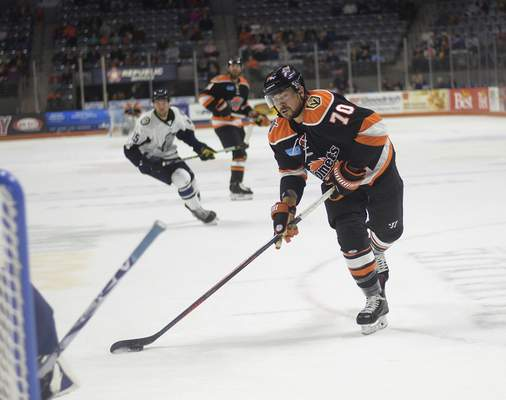 Katie Fyfe | The Journal Gazette Shawn St-Amant, who had 18 goals and 31 points in 29 games last season, is likely to be put on the Komets' protected list Monday.
