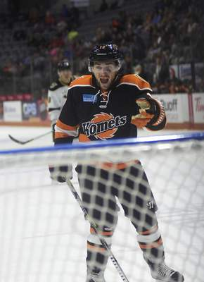 Katie Fyfe | The Journal Gazette  Anthony Petruzzelli, who had 17 goals and 33 points in 53 games for the Komets this season, is likely to be on the team's protected list Monday.