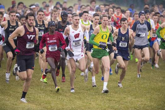 Virus Outbreak College Sports Cuts FILE - In this Nov. 23, 2019, file photo, runners compete in the men's NCAA Division I Cross-Country Championships in Terre Haute, Ind. Four-year colleges facing budget shortfalls stemming from the coronavirus outbreak have eliminated a total of nearly 100 sports programs since March. (AP Photo/Doug McSchooler, File) (Doug McSchooler