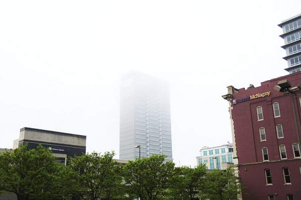 Katie Fyfe | The Journal Gazette The Indiana Michigan Power building in Fort Wayne disappears into the fog on Saturday morning, May 23rd, 2020.