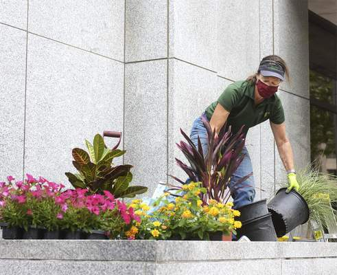 Katie Fyfe | The Journal Gazette Greta Ivanovic with Sand Point Living Interiors plants bushes and flowers outside of the PNC Building off of Calhoun Street on Friday, May 29th, 2020.
