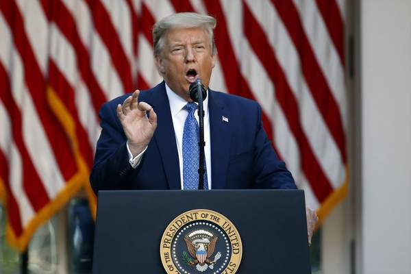Associated Press: President Donald Trump speaks in the Rose Garden of the White House on Monday.