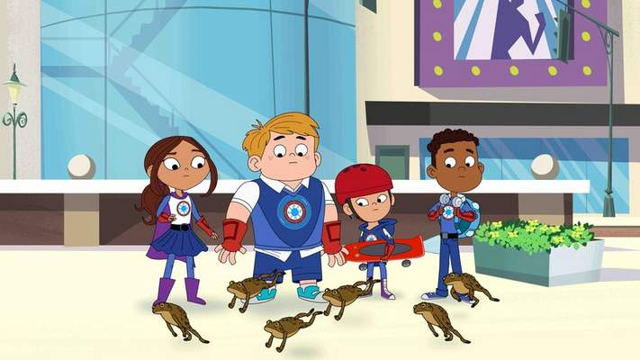 This image released by PBS Kids shows characters from the TV series Hero Elementary, from left, Lucita Sky, Benny Bubbles, Sara Snap and AJ Gadgets, a superhero who has the ability to make super gadgets and who also happens to be on the Autism spectrum. (PBS Kids via AP)