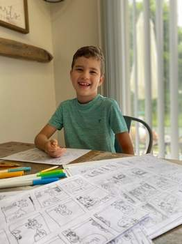 """Courtesy Carter Heiselmann, 10, of Fort Wayne created a comic strip, """"Chicken Strips,"""" which he hopes to get published in the newspaper."""